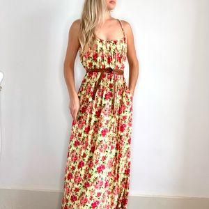 Calvin Klein Long Yellow & Pink Floral Maxi Dress